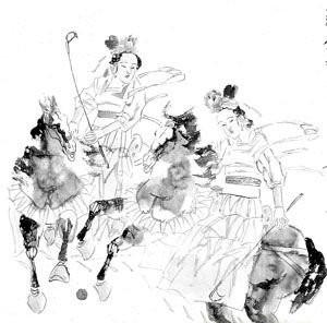 古装女子骑马手绘图片